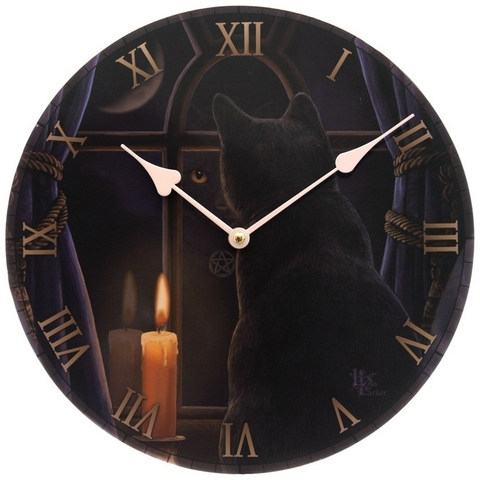 Lisa Parker Midnight Vigil Cat Clock